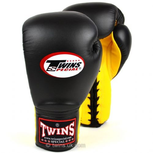 Twins Lace Up Sparring Gloves - Black/Yellow